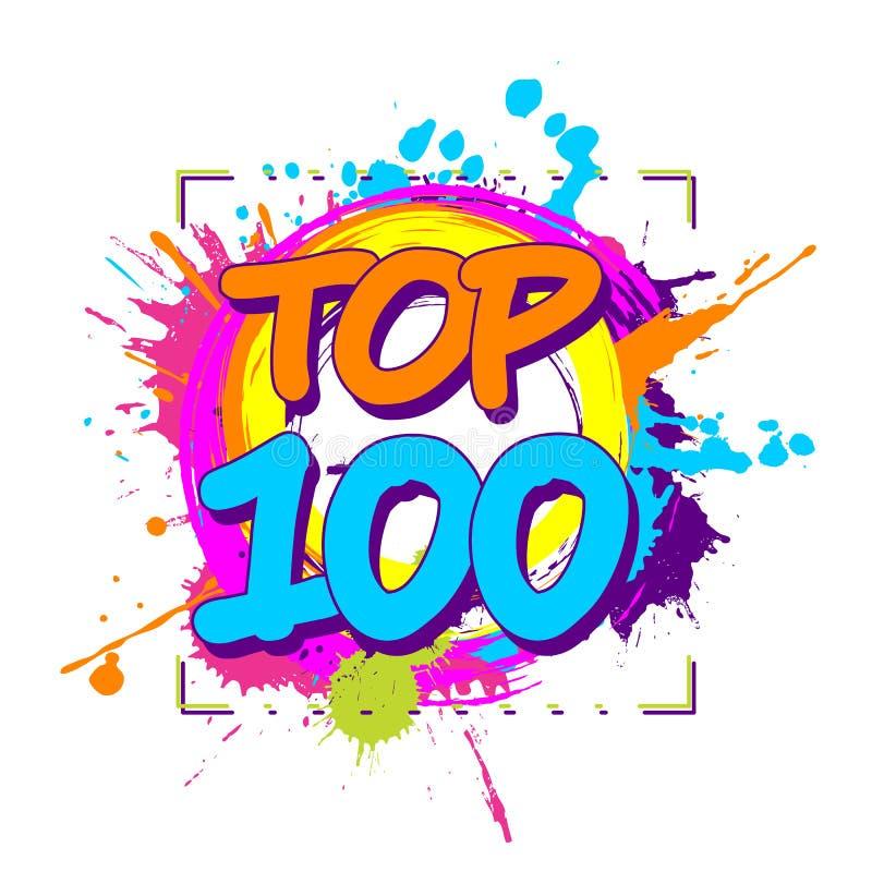 Placas coloridas de tinta com 100 emblemas circulares de topo para classificações, ranking ou paradas ilustração stock
