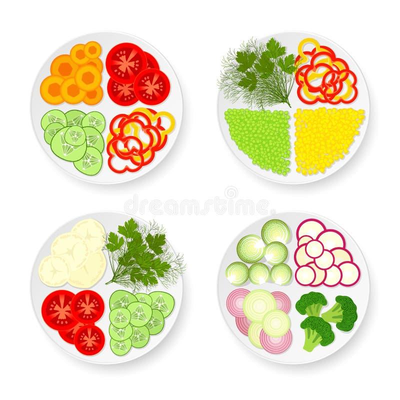 Placas con las verduras stock de ilustración