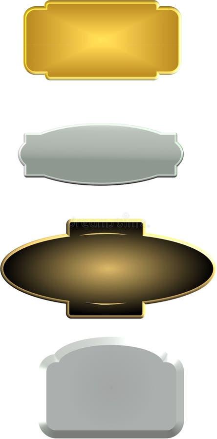 placas conhecidas do Pewter 3d ilustração stock