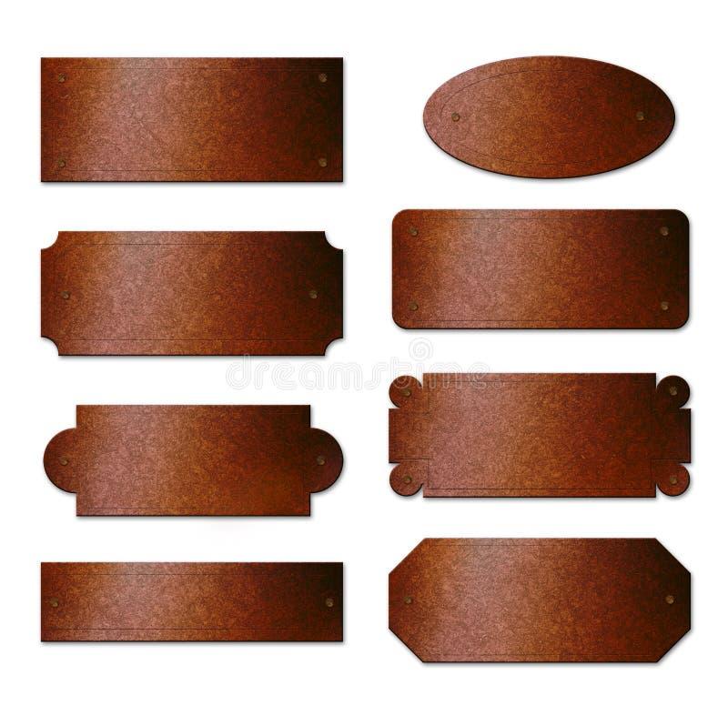 Placas de bronze oxidadas ilustração do vetor