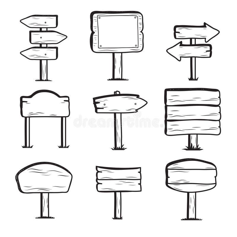 Placas de calle de madera dibujadas mano Iconos de los posts de muestra del garabato ilustración del vector