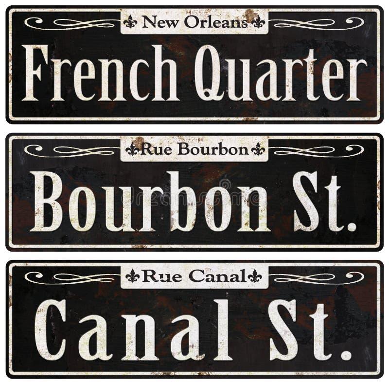 Placas de calle rústicas del vintage de New Orleans retras ilustración del vector
