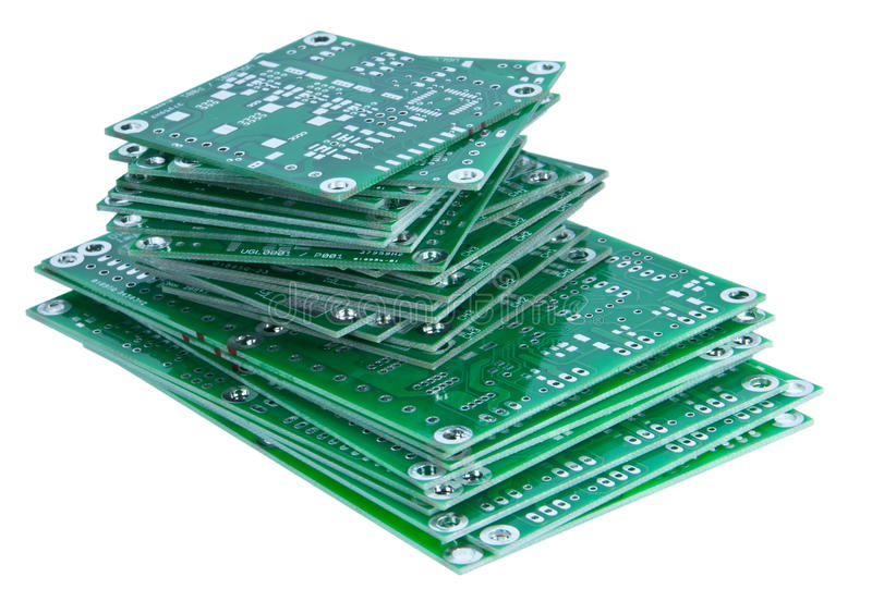 Placas de circuito empilhadas fotografia de stock royalty free