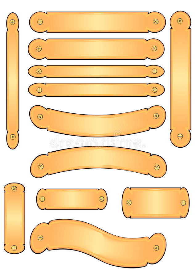 Placas de cobre amarillo de la bandera del grabado libre illustration