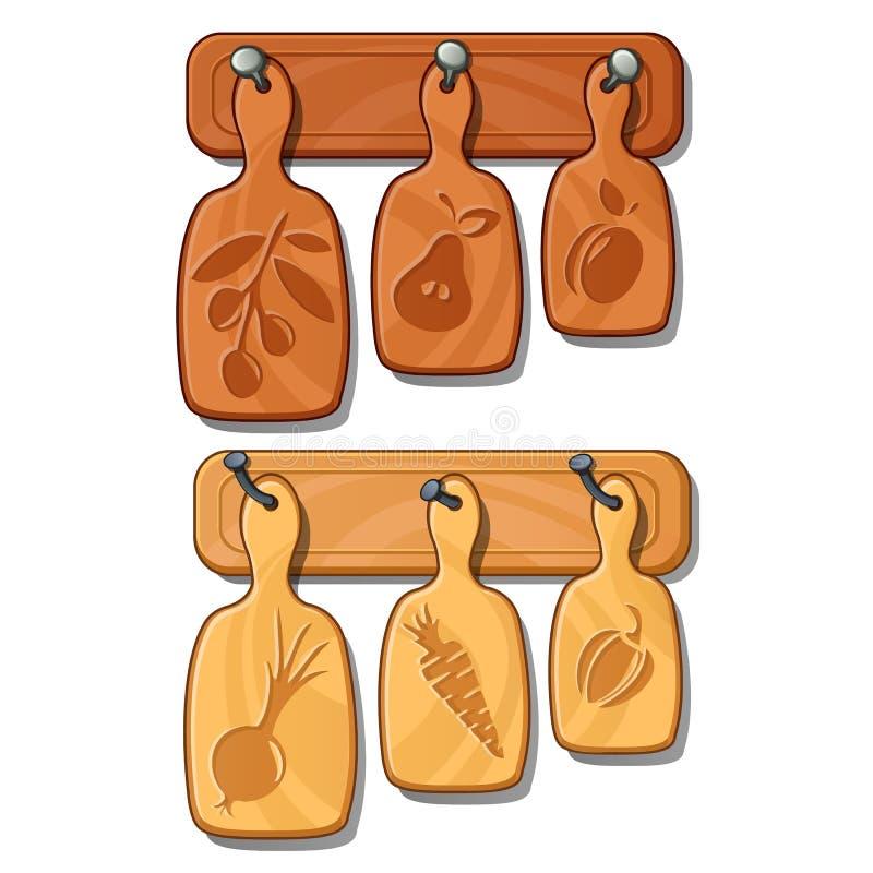 Placas de corte em pregos Implementares de madeira da cozinha com imagens das frutas e legumes Vetor isolado no branco ilustração royalty free