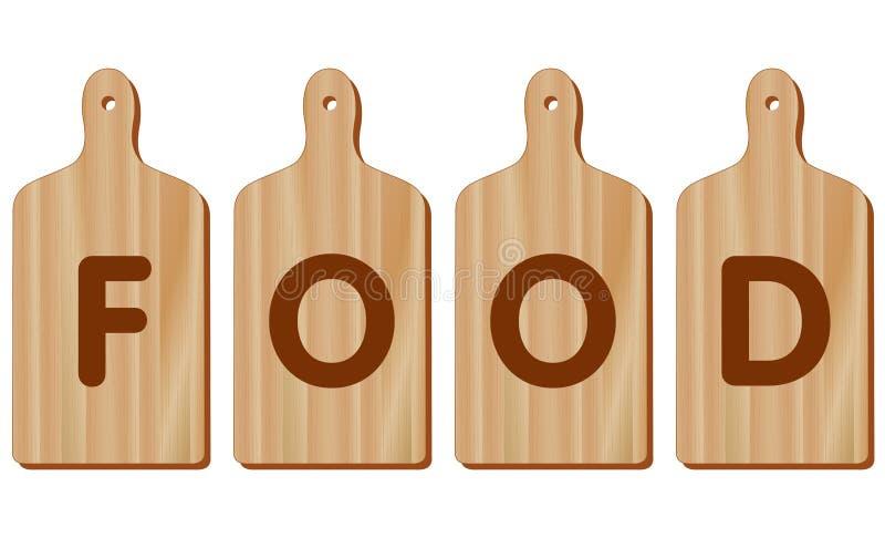 Placas de corte, madeira, forma da pá, ALIMENTO ilustração do vetor