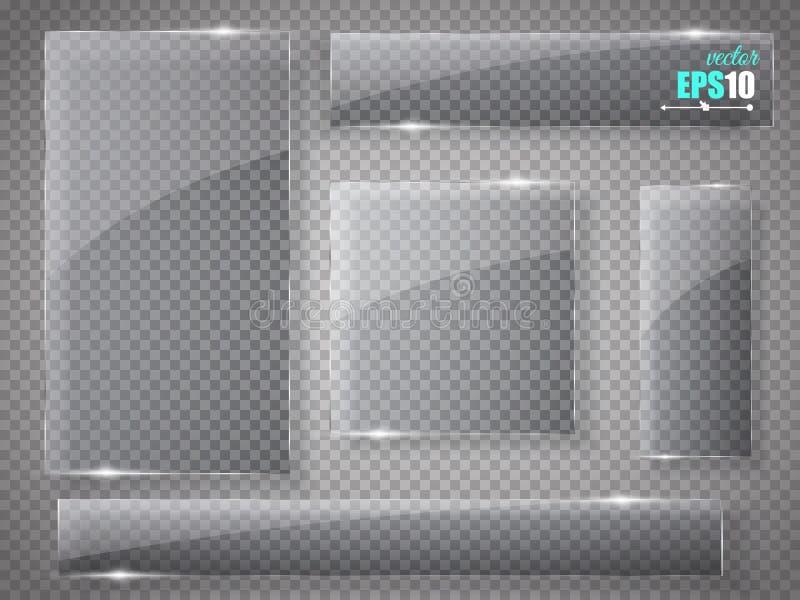 Placas de cristal fijadas Banderas de cristal del vector en fondo transparente libre illustration