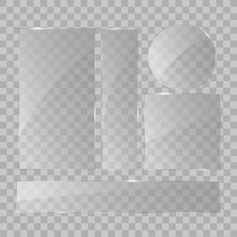 Placas de cristal fijadas Banderas de cristal del vector en fondo transparente ilustración del vector