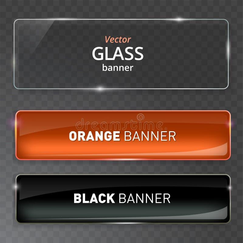 Placas de cristal fijadas Banderas de cristal del vector en fondo transparente stock de ilustración