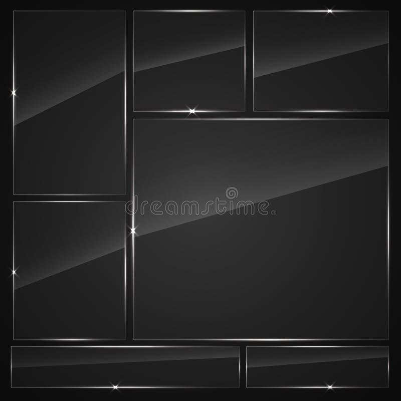 Placas de cristal fijadas Banderas del vidrio del vector libre illustration