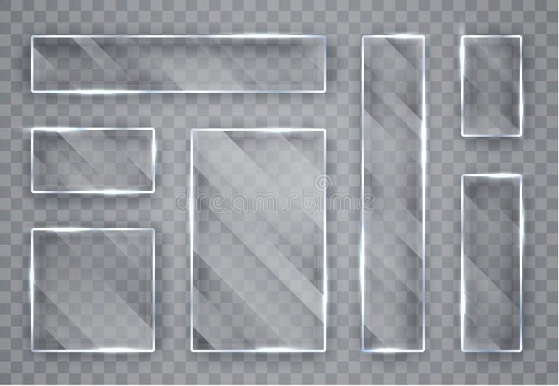 Placas de cristal fijadas Banderas de cristal en fondo transparente Vidrio plano Ilustraci?n del vector ilustración del vector