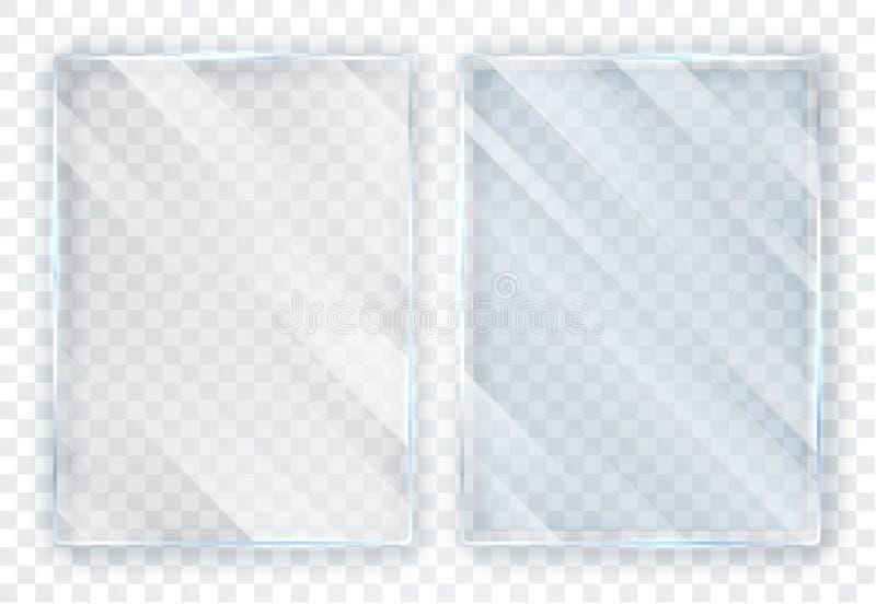 Placas de cristal fijadas Banderas de cristal en fondo transparente Vidrio plano Ilustraci?n del vector stock de ilustración