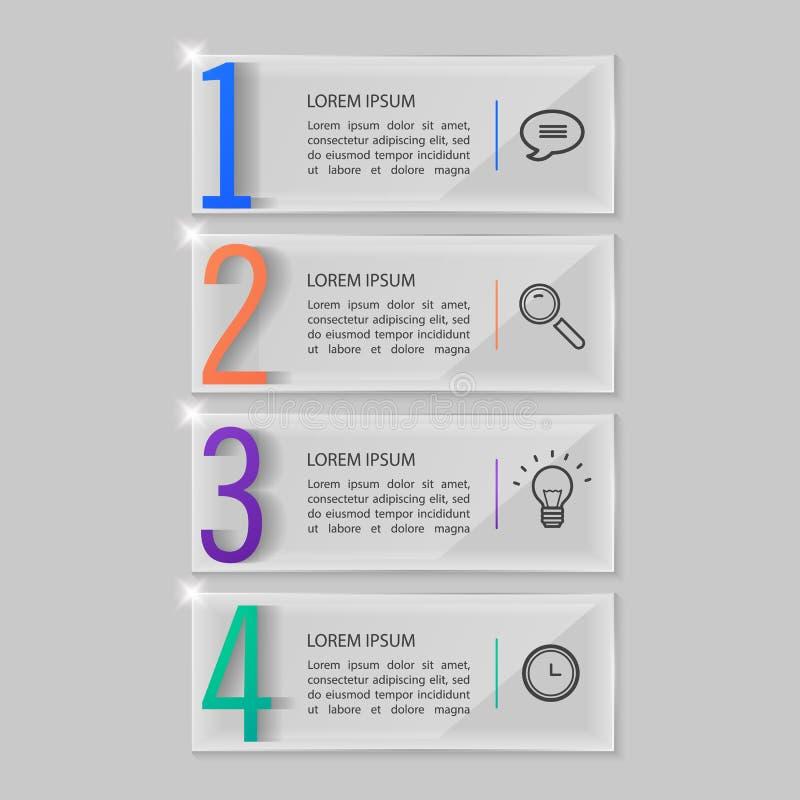 Placas de cristal fijadas, diseño infographic stock de ilustración