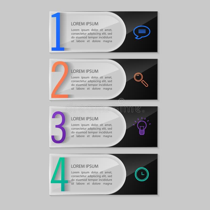 Placas de cristal fijadas, diseño infographic ilustración del vector