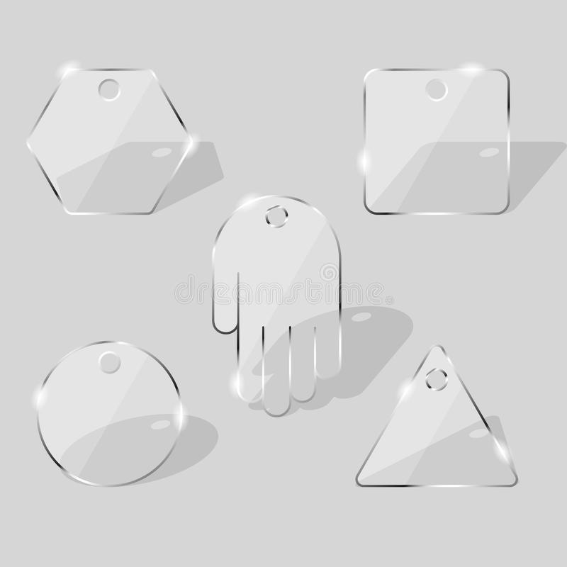 Placas de cristal Los paneles transparentes de la diversa forma ilustración del vector
