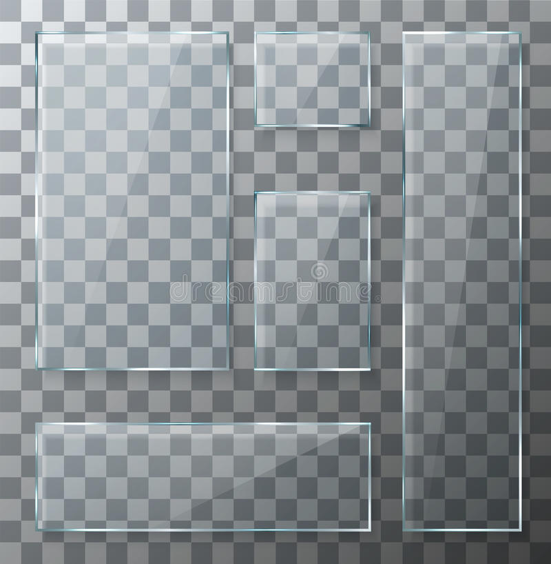 Placas de cristal transparentes modernas del vector fijadas stock de ilustración