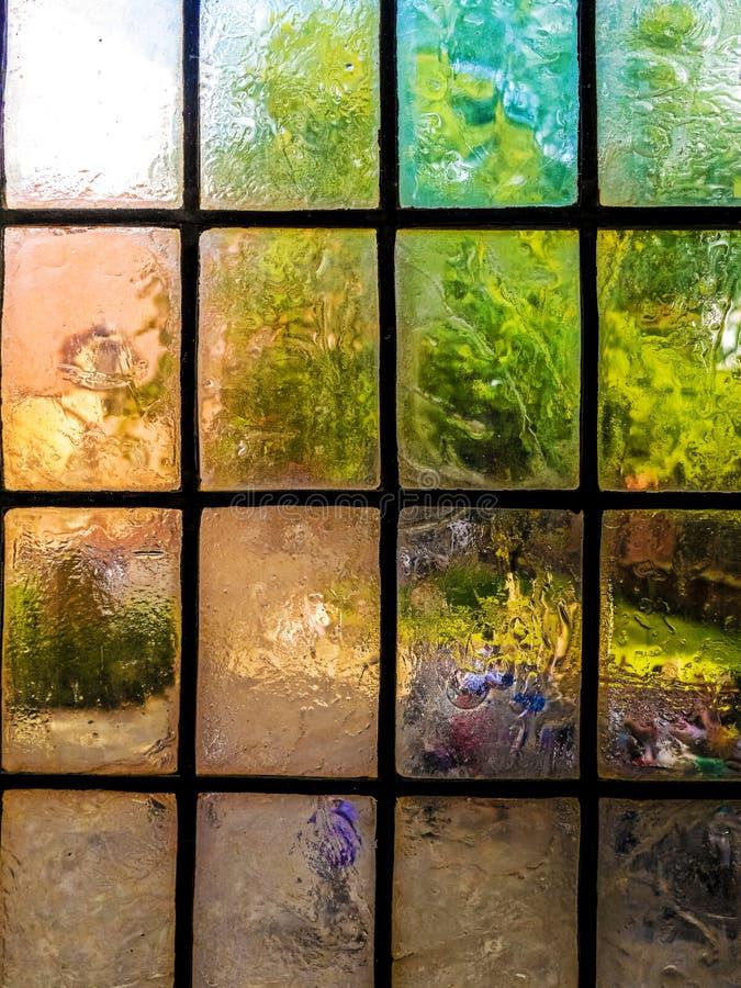 Placas de janela de vitrificação do vintage colorido fotografia de stock