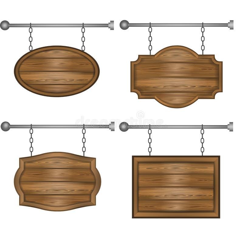 Placas de madeira ajustadas dos sinais no fundo branco ilustração stock