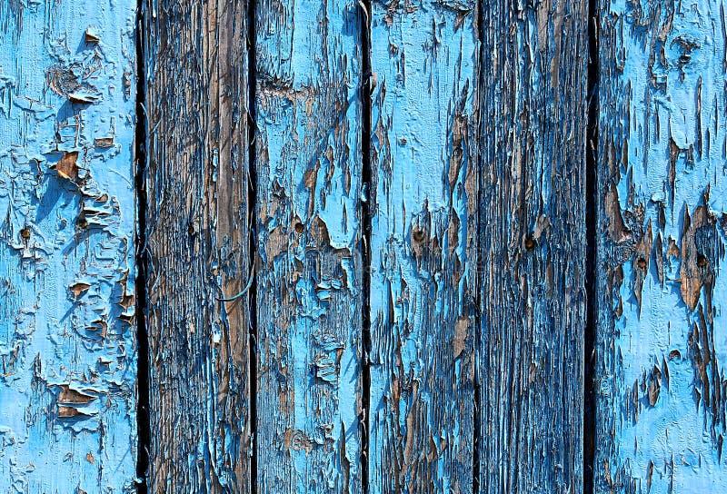 Placas de madeira da textura com o azul gasto da pintura imagens de stock royalty free