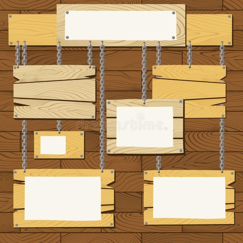 Placas de madeira do sinal ilustração royalty free