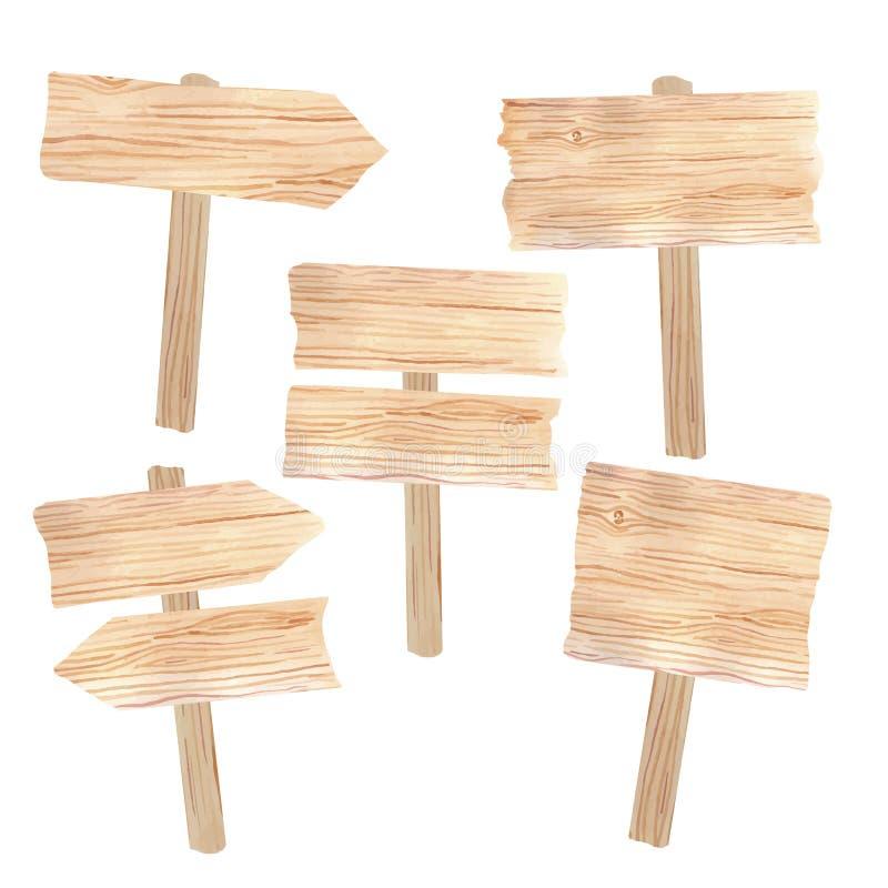 Placas de madeira e sinais ilustração stock