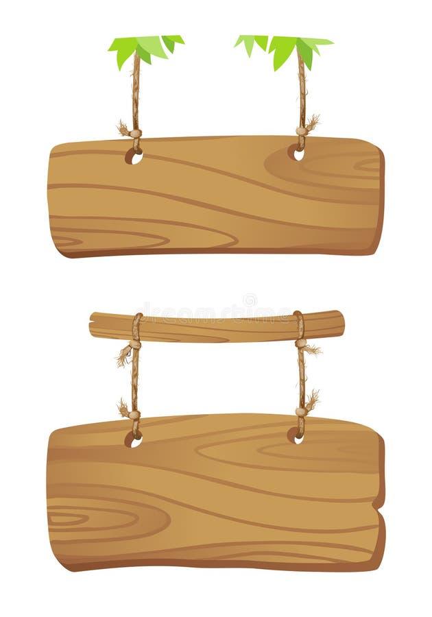 Placas de madeira em um cabo. ilustração stock
