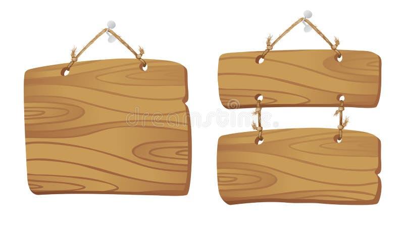 Placas de madeira em um cabo. ilustração royalty free