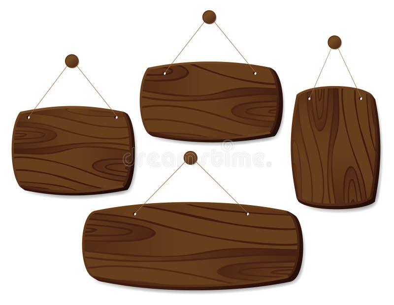 Placas de madeira em um cabo ilustração do vetor