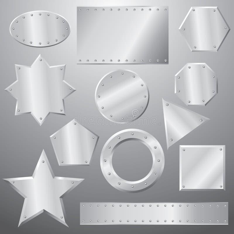 Placas de metal ajustadas ilustração do vetor