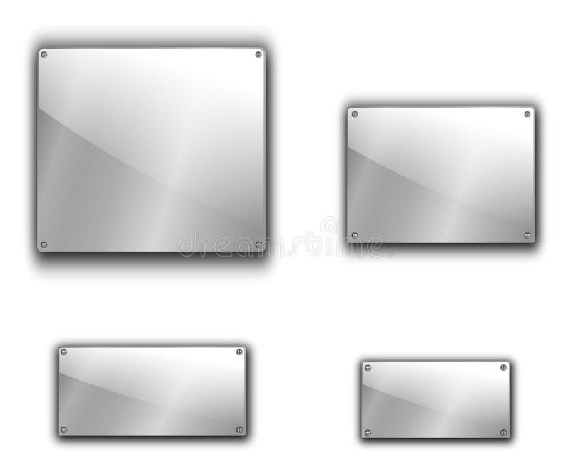 Placas de metal ajustadas ilustração stock