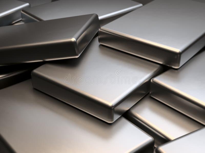 Placas de metal apiladas de la representación de los imanes 3D de la tierra rara del neodimio stock de ilustración