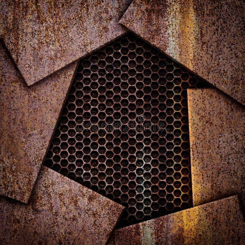 Placas de metal e ferro oxidados da corrosão do fundo da grade ilustração royalty free