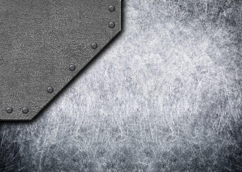 Placas de metal rústicas velhas com fundo ou o textu sem emenda dos rebites ilustração stock