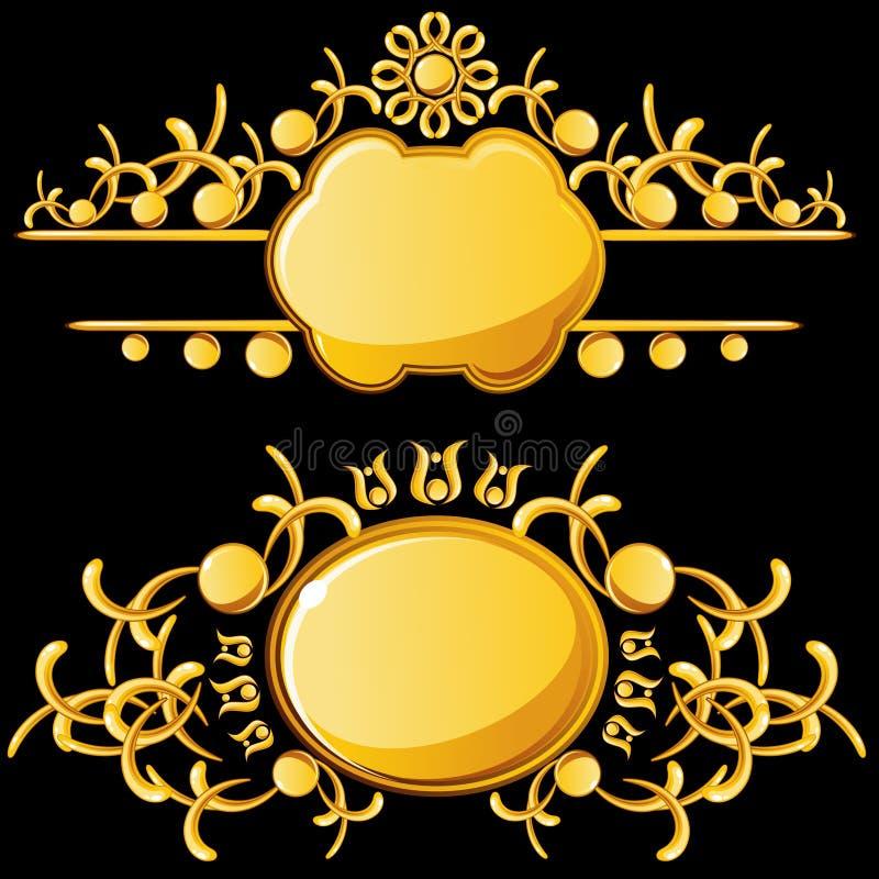 Placas de oro con el espacio de la copia stock de ilustración
