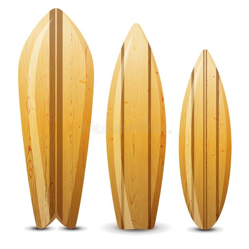 Placas de ressaca de madeira ilustração stock