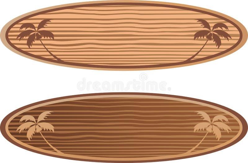 Placas de ressaca de madeira com conceito de Havaí ilustração stock