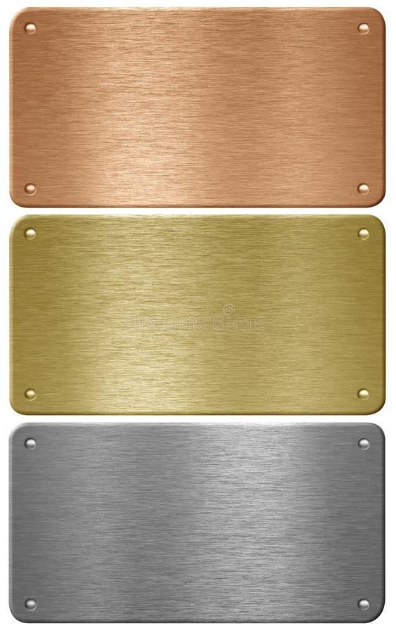 Placas del aluminio, del cobre y de metal del latón aisladas foto de archivo libre de regalías