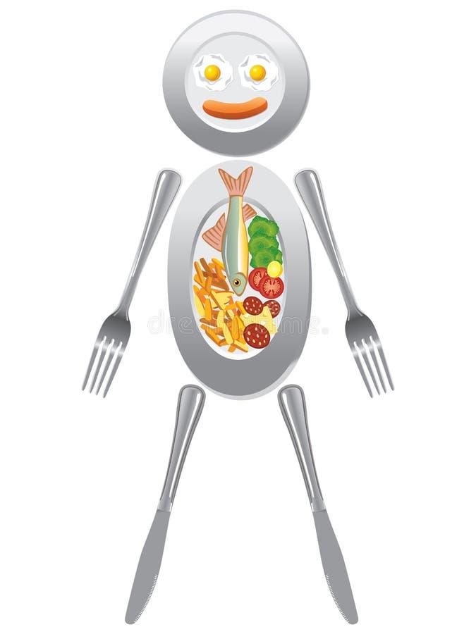 Placas do utensílio & do alimento que formam a figura humana ilustração do vetor