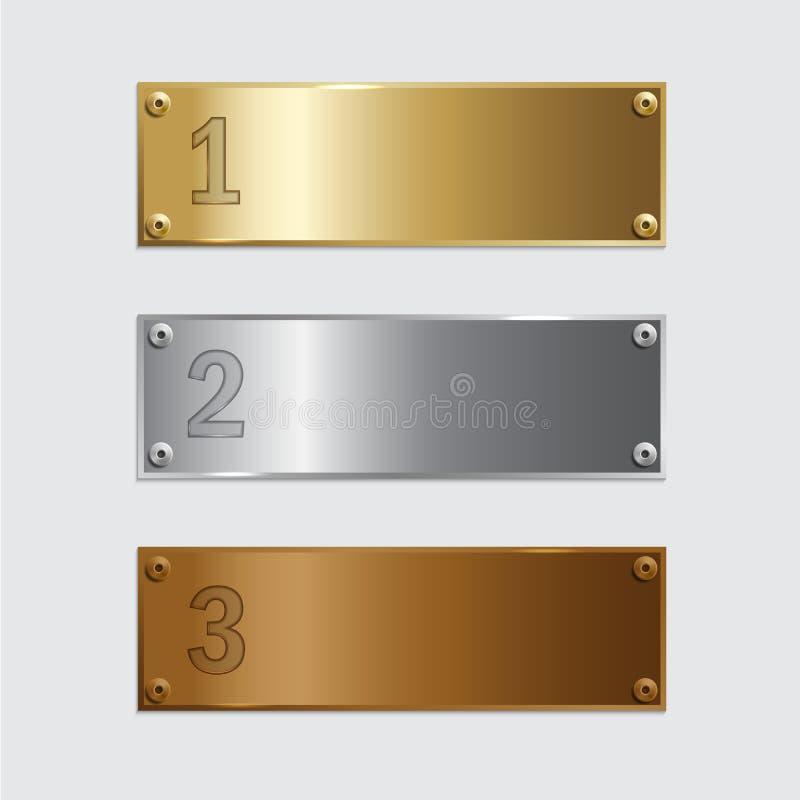 Placas douradas, de prata e de bronze do pódio isoladas no fundo cinzento Ilustração do vetor ilustração stock
