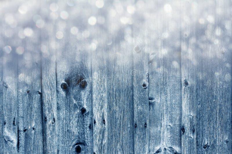 Placas e flocos de neve de madeira fotografia de stock