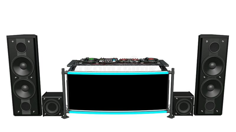 Placas giratorias de DJ con los altavoces, mezcladores y equipo de grabación de audio, instrumentos de sonidos de música del disc foto de archivo