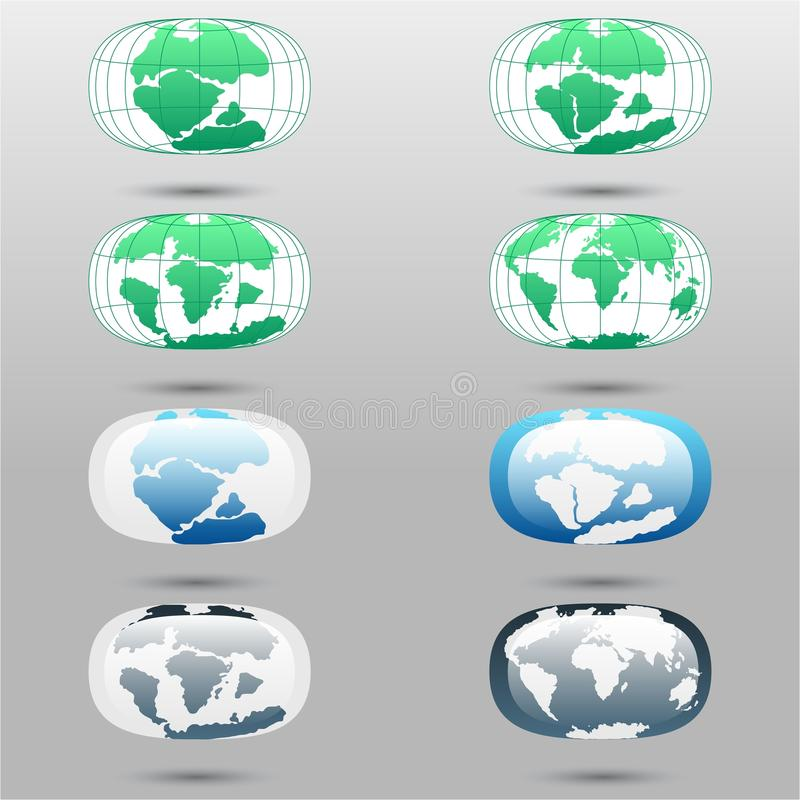 Placas tetônicas na terra do planeta continentes e grupo modernos do infographics de estilo liso dos ícones ilustração do vetor
