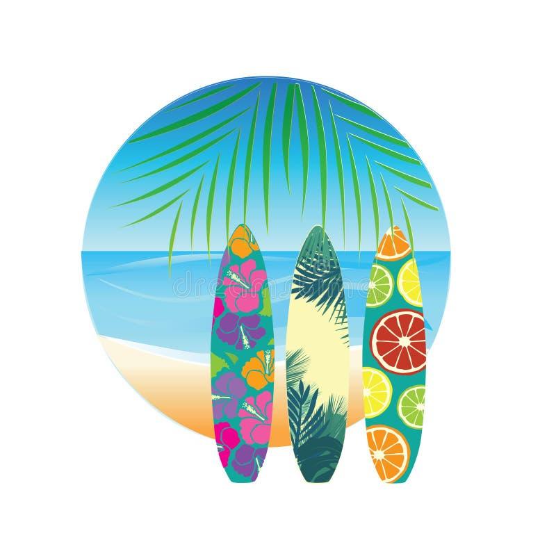 Placas tropicais do tbeach e de ressaca ilustração royalty free