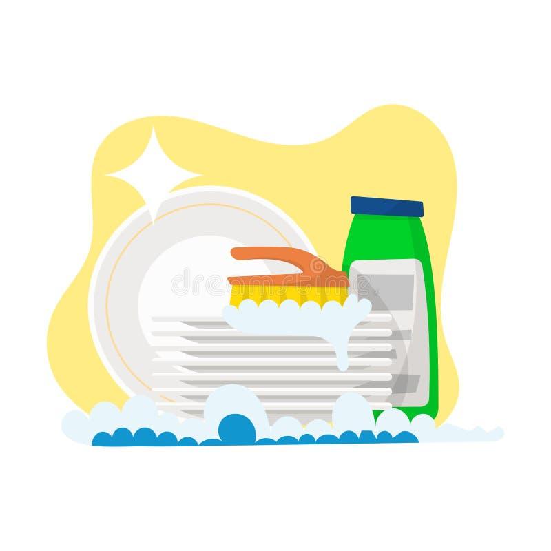 placas y detergente para lavarse aislada en el fondo blanco V libre illustration