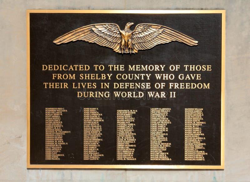 Placca commemorativa dei veterani di Shelby County World War Two immagini stock libere da diritti