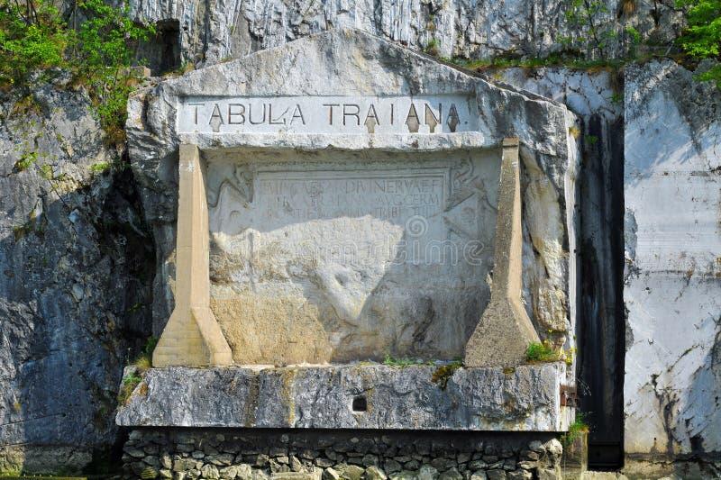 Placca commemorativa romana Tabula Traiana, il Danubio in Serbia immagine stock