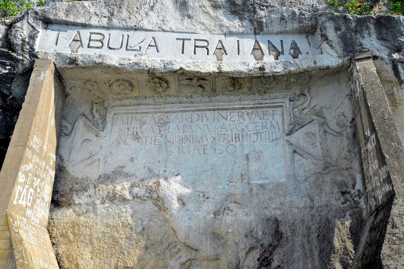 Placca commemorativa romana ?Tabula Traiana ?, la Serbia immagine stock libera da diritti