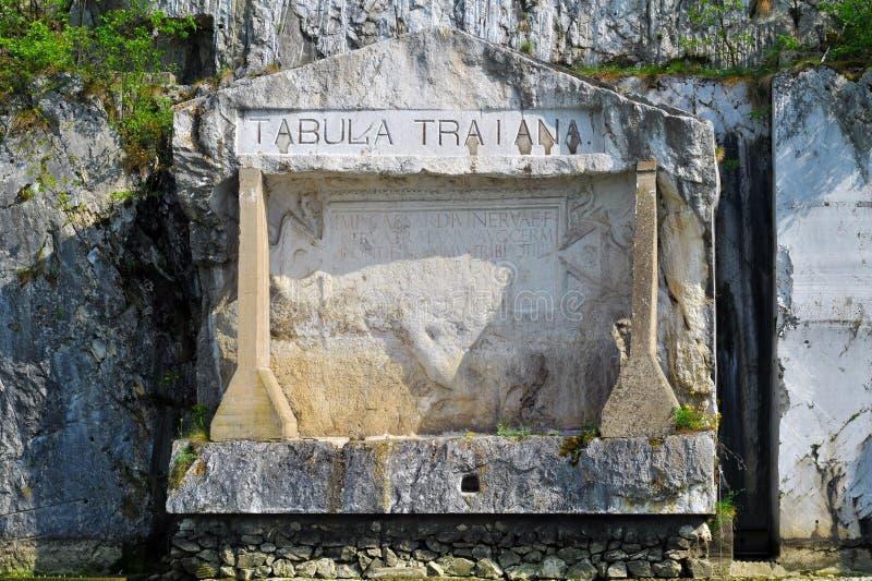 Placca commemorativa romana ?Tabula Traiana ?, la Serbia fotografia stock libera da diritti