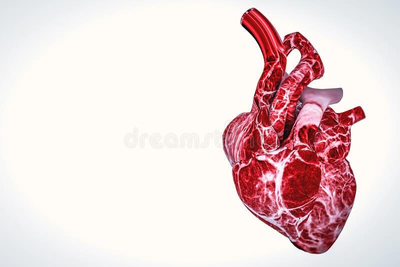 Placca del colesterolo in arteria, vaso sanguigno con i globuli di scorrimento royalty illustrazione gratis