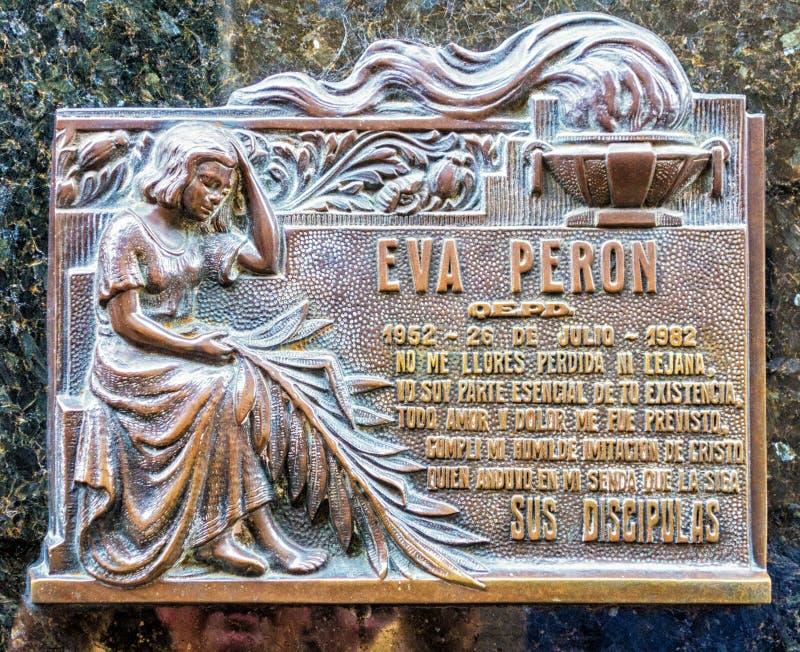 Placca della tomba di Eva Peron immagine stock